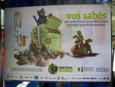 Advertisment in Montevideo promoting a clean and healthy city