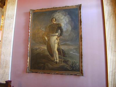 An oil painting of  José Luis  Zorrilla de San Martín <br>and depicting the Gral